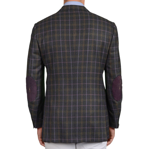 D'AVENZA Roma Gray Plaid Wool Jacket with Stingray Elbow Patch EU 50 NEW US 40