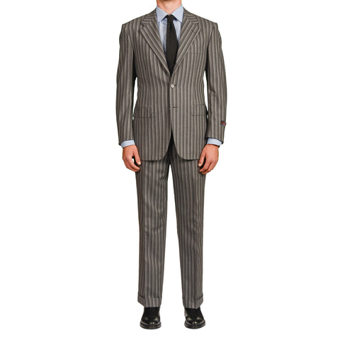 D'AVENZA Roma Handmade Gray Striped Wool-Cashmere Suit EU 50 NEW US 40