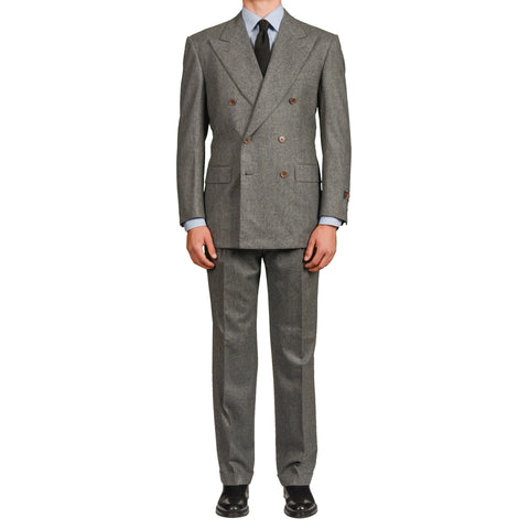 D'AVENZA Roma Handmade Gray Striped Wool Flannel DB Suit EU 50 NEW US 40