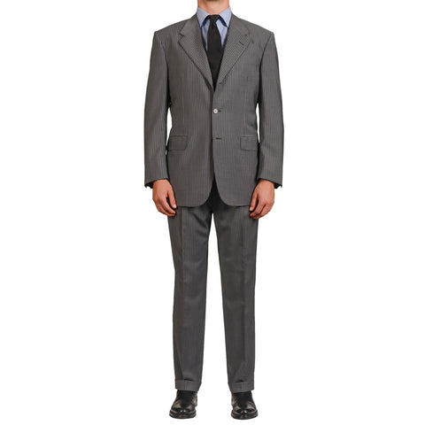 D'AVENZA Roma Handmade Gray Striped Wool Suit EU 54 NEW US 44