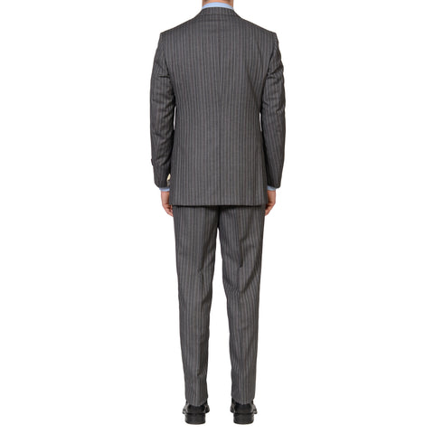 D'AVENZA Roma Handmade Gray Striped Wool Super 120's Suit EU 52 NEW US 42