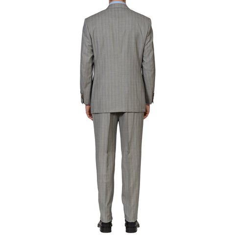 D'AVENZA Roma Handmade Gray Striped Wool Super 130's DB Suit EU 54 NEW US 44
