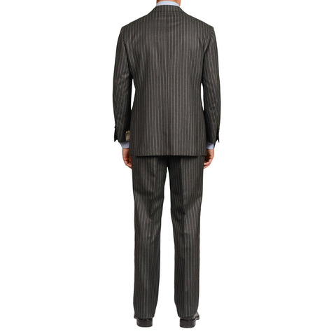 D'AVENZA Roma Handmade Gray Striped Wool Super 150's Suit EU 54 NEW US 44
