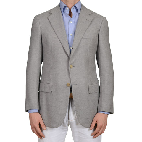 D'AVENZA Roma Handmade Gray Wool-Cashmere Flannel Jacket EU 50 NEW US 40