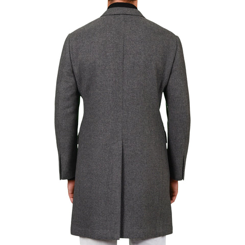D'AVENZA Roma Handmade Gray Wool-Cashmere Flannel Unlined Coat 50 NEW US M
