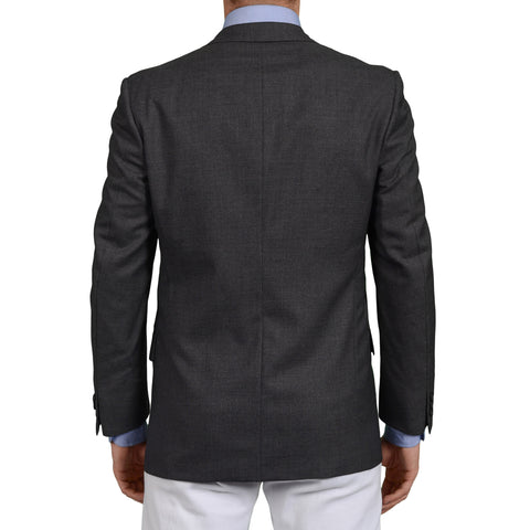 D'AVENZA Roma Handmade Gray Wool Blazer Jacket EU 48 NEW US 38 Short