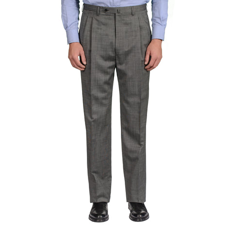 D'AVENZA Roma Handmade Gray Wool DP Dress Pants EU 52 NEW US 36 Classic Fit