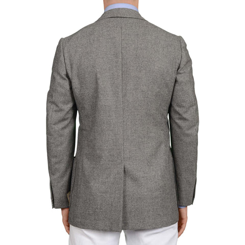 D'AVENZA Roma Handmade Gray Wool Flannel Unlined Blazer Jacket EU 50 NEW US 40