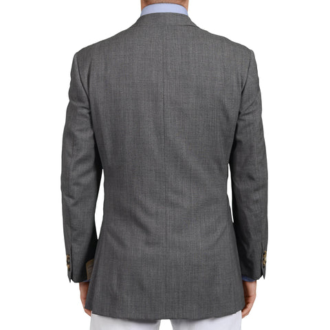D'AVENZA Roma Handmade Gray Wool Jacket Sports Coat EU 50 NEW US 40