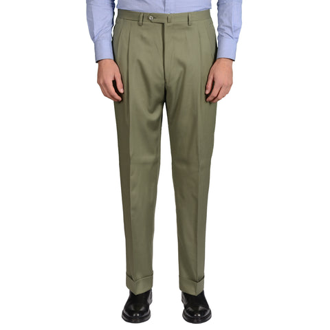 D'AVENZA Roma Handmade Green Wool DP Dress Pants EU 52 NEW US 36 Classic Fit