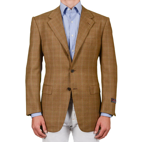 D'AVENZA Roma Handmade Beige Plaid Wool Jacket Sport Coat EU 52 NEW US 42