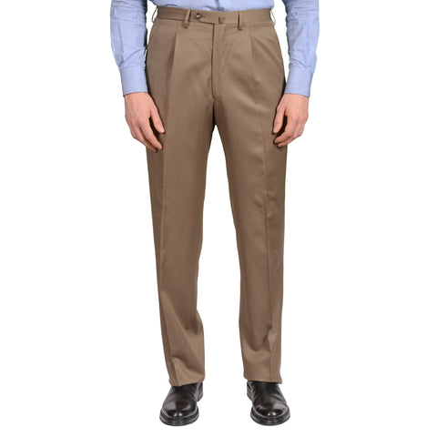 D'AVENZA Roma Handmade Khaki Wool SP Dress Pants EU 48 NEW US 32 Classic Fit