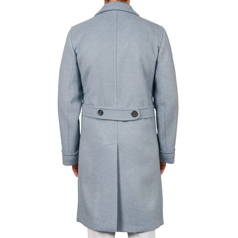 D'AVENZA Roma Handmade Light Blue Cashmere DB Polo Overcoat EU 50 NEW US 42-42