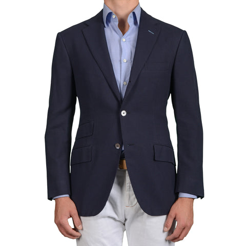 D'AVENZA Roma Handmade Navy Blue Cotton Blazer Jacket EU 52 NEW US 42 Slim Fit