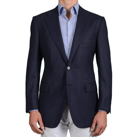 D'AVENZA Roma Handmade Navy Blue Linen-Cotton Blazer Jacket EU 52 NEW US 42
