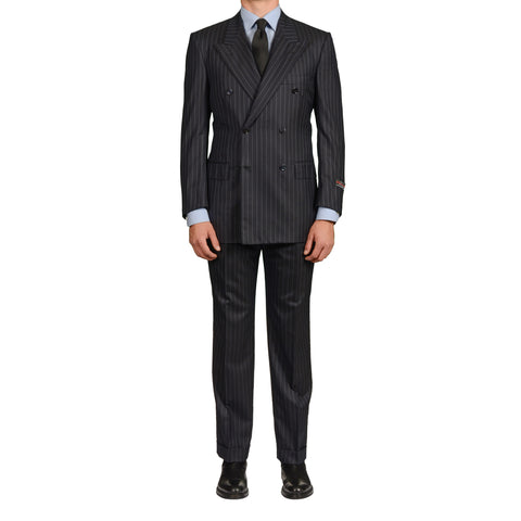 D'AVENZA Roma Handmade Navy Blue Striped Wool Super 120's DB Suit 50 NEW US 40