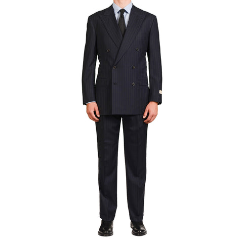 D'AVENZA Roma Handmade Navy Blue Striped Wool Super 120's DB Suit 52 NEW US 42
