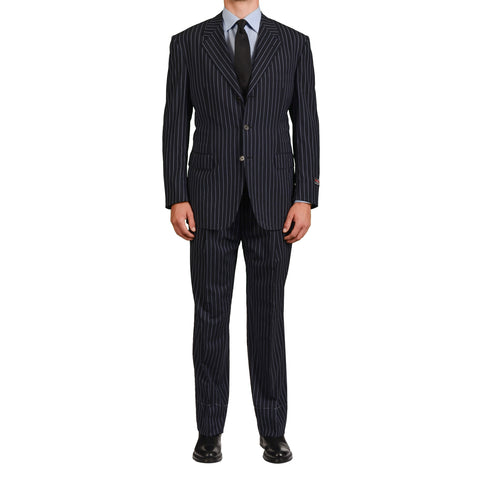 D'AVENZA Roma Handmade Navy Blue Striped Wool Super 120's Suit EU 54 NEW US 44