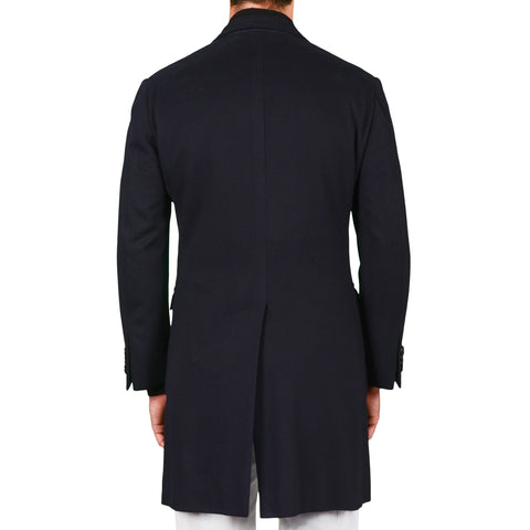 D'AVENZA Roma Handmade Navy Blue Wool-Cashmere Flannel Coat NEW