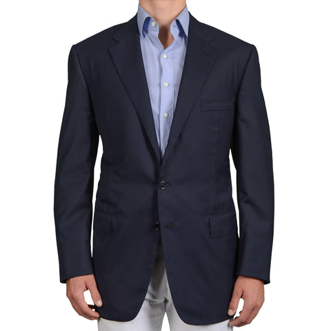 D'AVENZA Roma Handmade Navy Blue Wool-Silk Jacket Sport Coat EU 58 NEW US 48