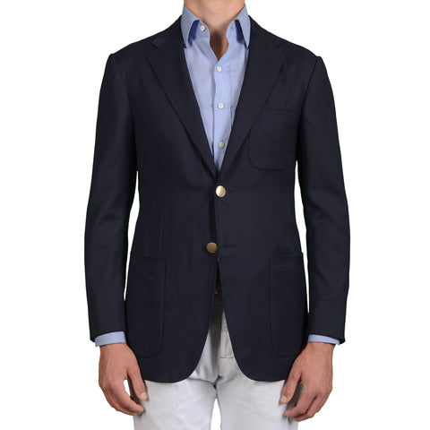 D'AVENZA Roma Handmade Navy Blue Wool Blazer Jacket EU 48 NEW US 38
