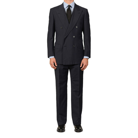 D'AVENZA Roma Handmade Navy Blue Wool DB Suit EU 52 NEW US 42