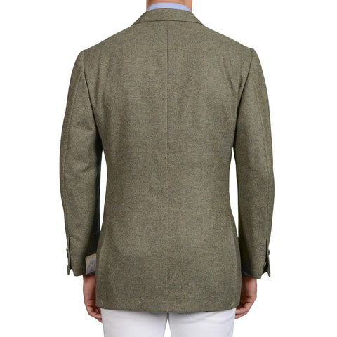 D'AVENZA Roma Handmade Olive Cashmere Tweed Jacket EU 52 NEW US 42