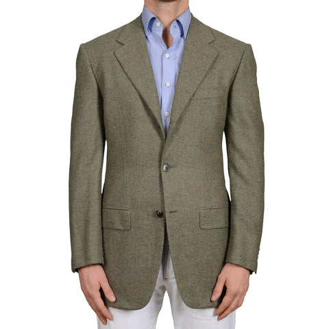 D'AVENZA Roma Handmade Olive Cashmere Tweed Jacket Sport Coat EU 50 NEW US 40