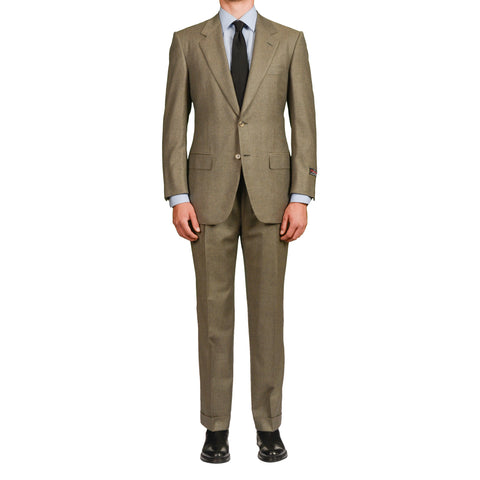 D'AVENZA Roma Handmade Olive Nailhead Wool-Cashmere Suit EU 50 NEW US 40