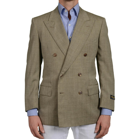 D'AVENZA Roma Handmade Olive Wool-Silk DB Blazer Jacket EU 52 NEW US 42 Short