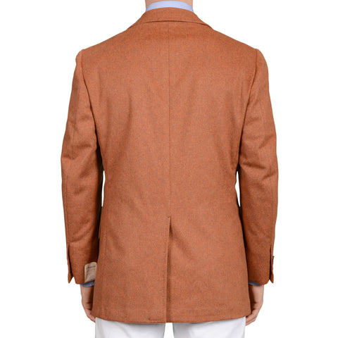 D'AVENZA Roma Handmade Burnt Cashmere Unlined Blazer Jacket EU 50 NEW US 40