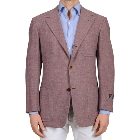 D'AVENZA Roma Handmade Purple Wool Super 120's Flannel Jacket 53 NEW US 42 43