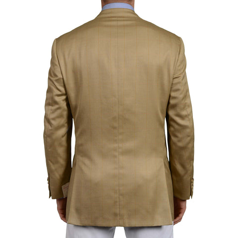 D'AVENZA Roma Handmade Tan Herringbone Plaid Silk-Wool DB Jacket EU 50 NEW US 40