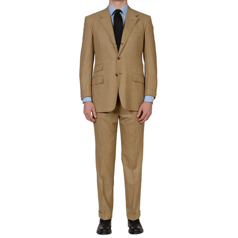 "D'AVENZA ""ASCOT"" Handmade Tan Windowpane Wool Super 150's Suit 52 NEW US 42"