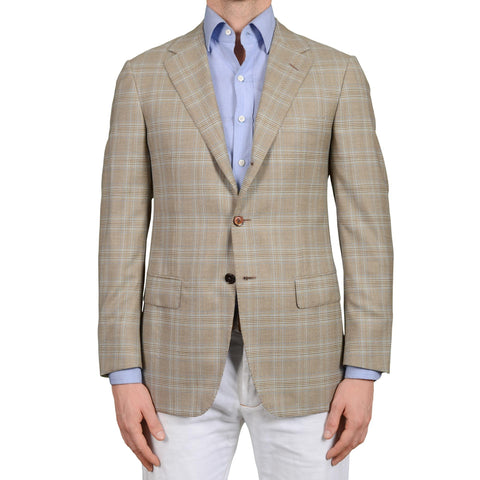 D'AVENZA Roma Handmade Taupe Plaid Wool Jacket Sport Coat NEW