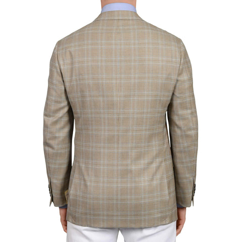 D'AVENZA Roma Handmade Taupe Plaid Wool Jacket Sport Coat EU 52 NEW US 42
