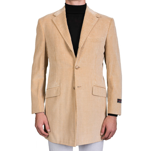 "D'AVENZA Roma ""Karim"" Beige Cotton-Cashmere Corduroy Jacket Coat NEW"