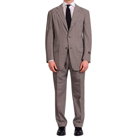 "D'AVENZA Roma ""Mercedes"" Gray Striped Wool Unlined Summer Suit EU 52 NEW US 42"