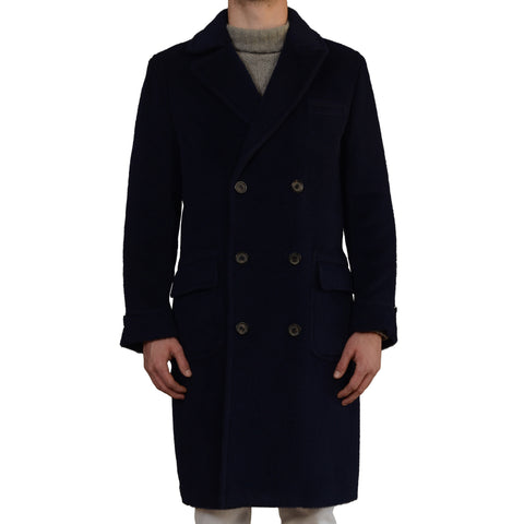 D'AVENZA Roma Navy Blue Cashmere Casentino DB Polo Overcoat EU 50 NEW US 40