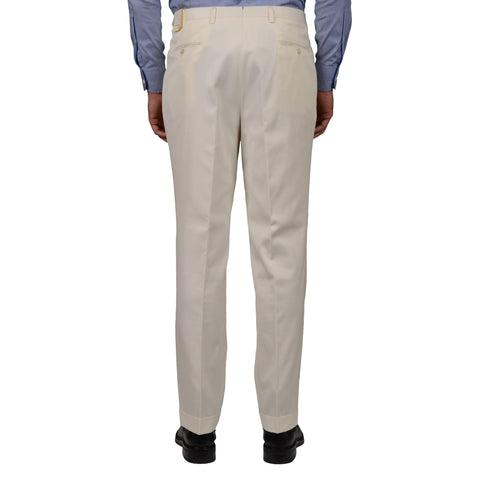 D'AVENZA Roma Off-White Cotton DP Dress Pants EU 50 NEW US 34 Classic Fit
