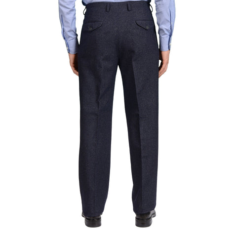 "D'AVENZA Roma ""Pineto"" Blue Wool-Cotton Tweed DP Pants 50 NEW US 34 Classic Fit"