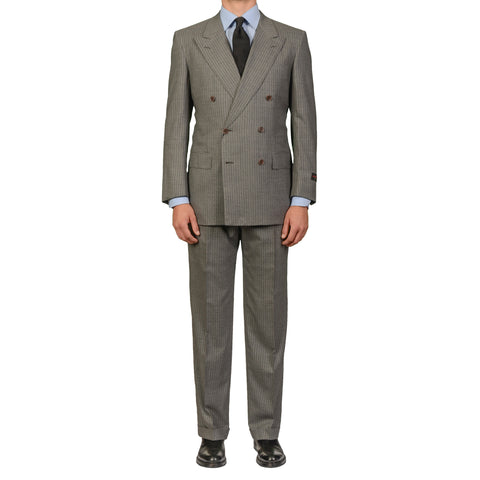 "D'AVENZA Roma ""Scalea"" Handmade Gray Striped Wool DB Suit EU 50 NEW US 40"