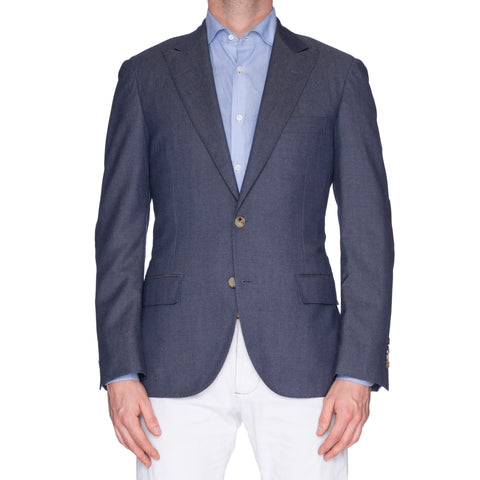 "D'AVENZA ""Young"" Blue Cashmere Peak Lapel Jacket Leather Elbow Patch 50 NEW 40"