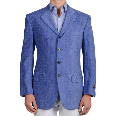 D'AVENZA Roma for CASCELLA Handmade Blue Silk 4 Button Jacket EU 54 NEW US 44