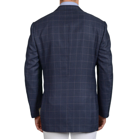 D'AVENZA Roma for DAMIANI Blue Plaid Wool-Silk-Cashmere Jacket EU 58 NEW US 48