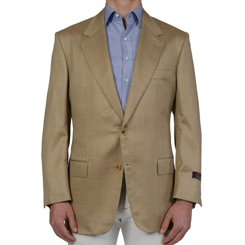 D'AVENZA Tan Herringbone Plaid Wool Super 120's Silk Jacket EU 56 NEW US 46