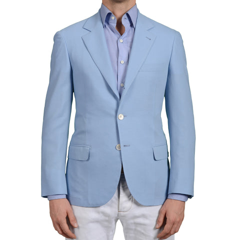 D'AVENZA Young Handmade Blue Wool Jacket Sports Coat EU 48 NEW US 38