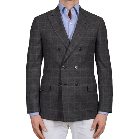 D'AVENZA Young Handmade Gray Plaid Wool Flannel DB Jacket Sport Coat NEW