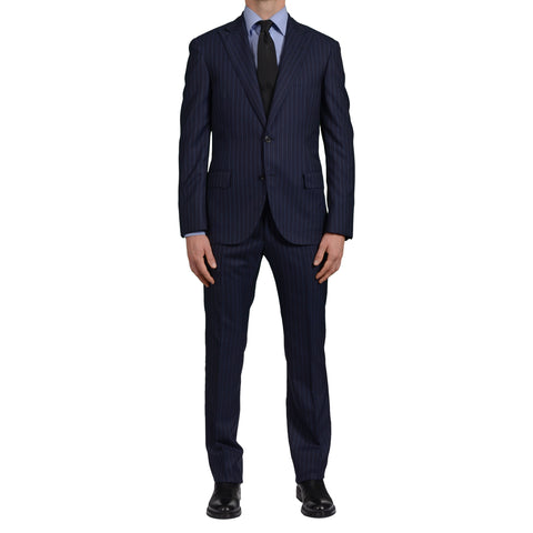 "D'AVENZA ""Young"" Handmade Navy Blue Striped Wool Peak Lapel Suit EU 50 NEW US 40"