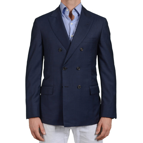D'AVENZA Young Handmade Navy Blue Wool DB Blazer Jacket EU 50 NEW US 40